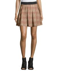 Romeo and Juliet Couture - Brown Plaid-print Pleated Skirt - Lyst