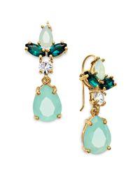 Juicy Couture - Metallic Goldtone Mint Rhinstone Cluster Drop Earrings - Lyst