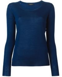 Roberto Collina - Blue Crew Neck Sweater - Lyst