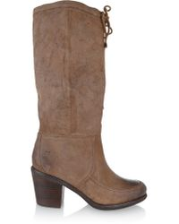 Frye Brown Camilla Shearling-lined Suede Knee Boots
