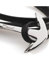 Miansai | Black Leather Silver Anchor Bracelet for Men | Lyst