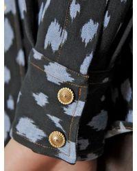 Fausto Puglisi Blue Animalier Print Cotton Denim Shirt