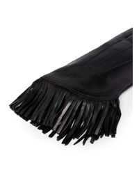 Maison Fabre - Black 'cowboy' Fringe Lamb Leather Gloves - Lyst