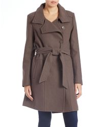 Kenneth Cole Reaction | Brown Belted Wool-blend Trench Coat | Lyst