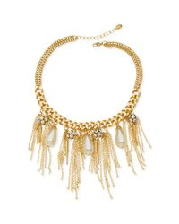 Guess | Metallic Chain and Fringe Frontal Bib Necklace | Lyst