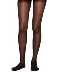 kate spade new york | Black Lurex Spots Tights | Lyst
