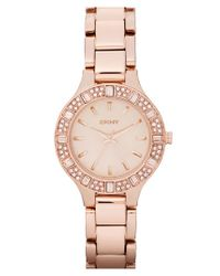 DKNY | Metallic 'chambers' Round Crystal Bezel Bracelet Watch | Lyst