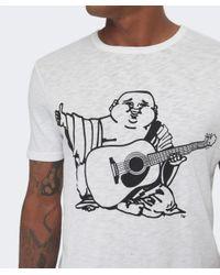 True Religion White Buddha Print Cotton T-shirt for men