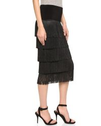 Norma Kamali - Black Allover Fringe Skirt - Lyst