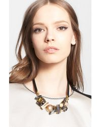 Marni | Multicolor Crystal Station Leather Necklace - Multi | Lyst