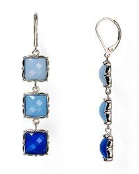 T Tahari | Blue Square Stone Drop Earrings | Lyst