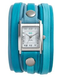La Mer Collections | Blue Mixed Leather Wrap Watch | Lyst