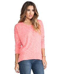 Monrow | Pink Slouchy Sweatshirt in Coral | Lyst