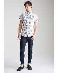 Forever 21 - White Toile Print Button-down Shirt You've Been Added To The Waitlist for Men - Lyst