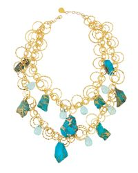 Devon Leigh - Metallic Ocean Jasper & Blue Quartz Necklace - Lyst