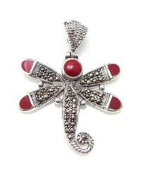 Aeravida - Metallic Vintage Beauty Red Dragonfly Marcarsite .925 Silver Pendant - Lyst