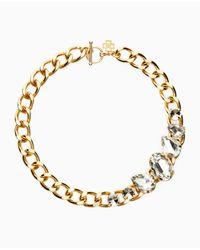 Ann Taylor - Metallic Stone Statement Chain Necklace - Lyst