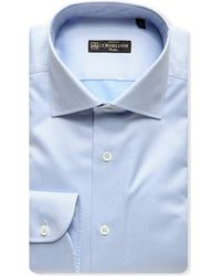 Corneliani | Blue Herringbone Slim-fit Cotton Shirt for Men | Lyst