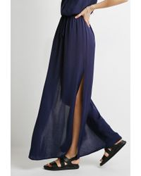 Forever 21 | Blue Contemporary Box-pleated Maxi Dress You've Been Added To The Waitlist | Lyst