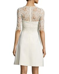 Lela Rose - White Floral-lace Half-sleeve A-line Dress - Lyst