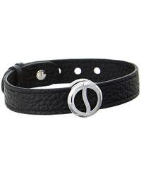 Philip Stein | Leather Horizon Doublewrap Bracelet Blackstainless | Lyst