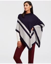 Ann Taylor Blue Colorblock Luxe Poncho