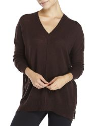 Line | Brown Cashmere V-Neck Sweater | Lyst