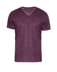 Vince Purple V-neck Linen T-shirt for men