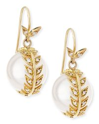 Mizuki | White Diamond Feather Wrap Pearl Earrings | Lyst