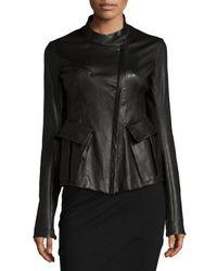 Donna Karan - Black Antiqued Leather Jacket - Lyst