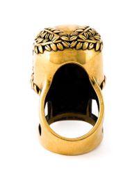 Alexander McQueen Black Floral Skull Cocktail Ring