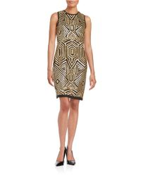Vince Camuto | Metallic Sequin Shift Dress | Lyst