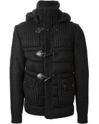 Bark Black Padded Duffle Coat for men