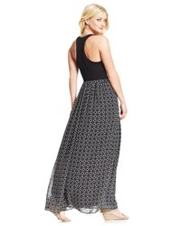 Maison Jules - Black Printed Maxi Dress - Lyst
