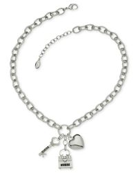 Guess | Metallic Silver-Tone Lock, Heart And Key Charm Necklace | Lyst