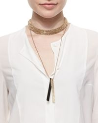 Brunello Cucinelli - Metallic Two-tone Tag Beaded Necklace - Lyst