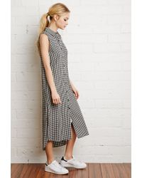 Forever 21 | Black Gingham Midi Shirt Dress | Lyst