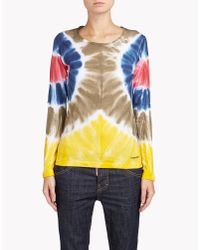 DSquared² | White Cotton Poplin Tie-dye Long Sleeves Shirt | Lyst
