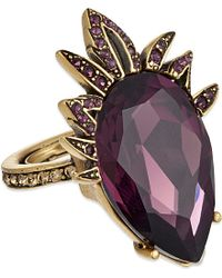 Oscar de la Renta | Purple Swarovski-embellished Teardrop Ring - For Women | Lyst