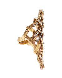 Erickson Beamon | Metallic 'heart Of Gold' Gauzy Crystal Ring | Lyst