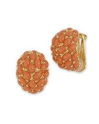 Kenneth Jay Lane | Orange Coral Cabochon Hoop Clip Earring | Lyst