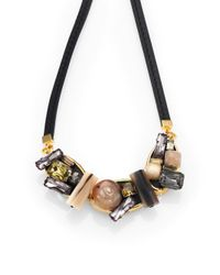 Marni - Black Multi-stone Cluster Necklace - Lyst