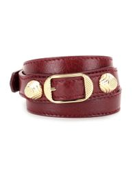 Balenciaga | Red Giant Leather Bracelet | Lyst