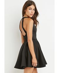 Forever 21 | Black Halter Fit And Flare Dress | Lyst