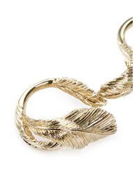 Valentino - Metallic Feather Two Finger Ring - Lyst