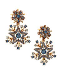 Oscar de la Renta | Metallic Crystal Stars Clip-on Drop Earrings | Lyst