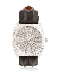 Christian Koban Black Dom White Diamond & Steel Watch