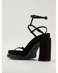 Ann Demeulemeester - Black Chunky Heel Sandals - Lyst