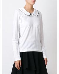 Comme des Garçons - White Peter Pan Collar Sweater - Lyst