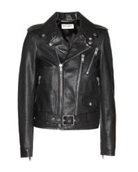 Saint Laurent | Black Leather Biker Jacket | Lyst